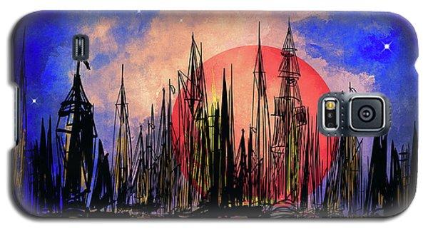 Galaxy S5 Case featuring the drawing Seaport by Andrzej Szczerski
