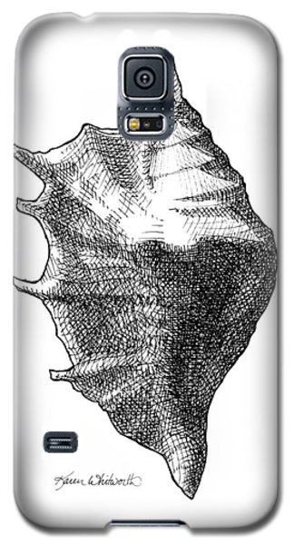 Galaxy S5 Case featuring the drawing Seashell 1 - Nautical Beach Drawing by Karen Whitworth