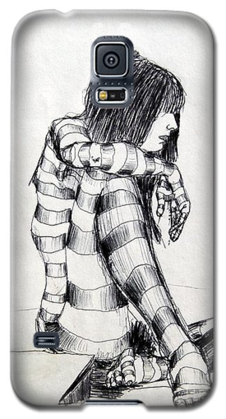 Seated Striped Nude Galaxy S5 Case by Ron Bissett