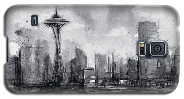 Seattle Skyline Painting Watercolor  Galaxy S5 Case by Olga Shvartsur
