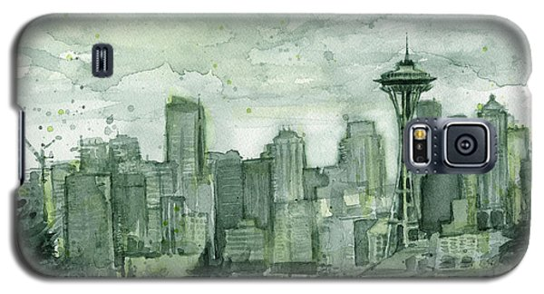 Seattle Skyline Watercolor Space Needle Galaxy S5 Case