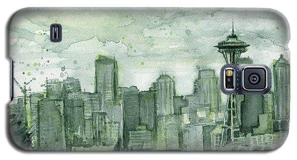 City Scenes Galaxy S5 Case - Seattle Skyline Watercolor Space Needle by Olga Shvartsur
