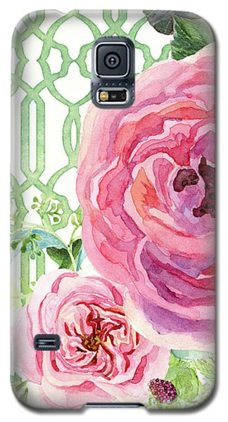 Galaxy S5 Case featuring the painting Secret Garden 3 - Pink English Roses With Woodsy Fern, Wild Berries, Hops And Trellis by Audrey Jeanne Roberts