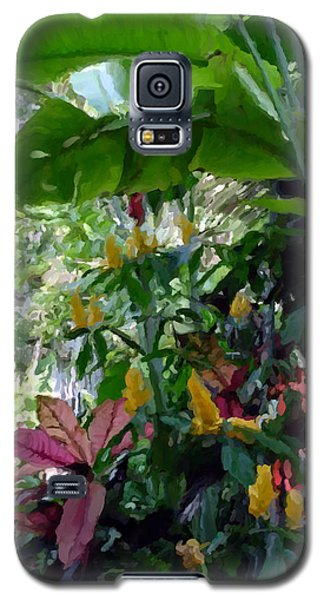Galaxy S5 Case featuring the painting Secret Garden Cat by David  Van Hulst