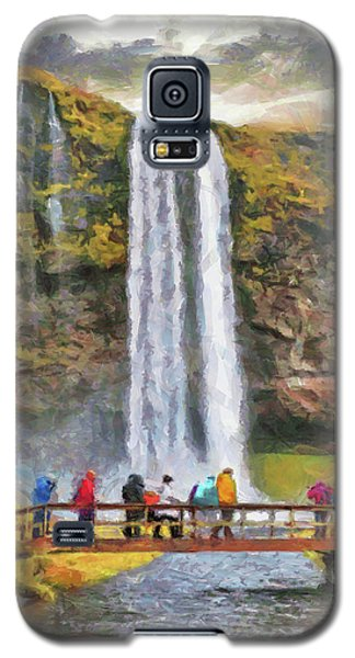 Galaxy S5 Case featuring the digital art Seljalandsfoss Waterfall by Digital Photographic Arts