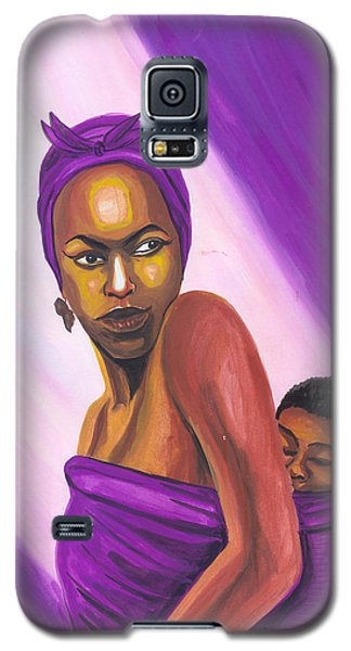 Galaxy S5 Case featuring the painting Senegalese Woman by Emmanuel Baliyanga