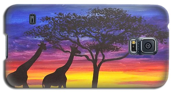 Galaxy S5 Case featuring the painting Serengeti Sunset by Darren Robinson