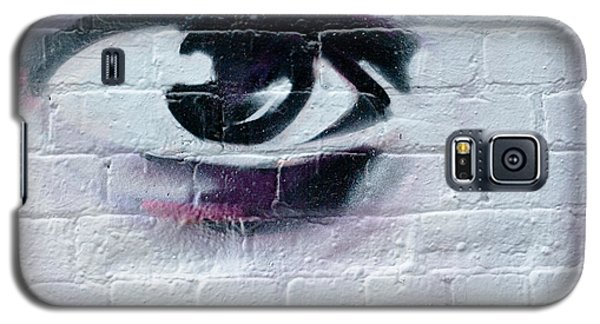 Galaxy S5 Case featuring the painting Serious Graffiti Eye On The Wall by Yurix Sardinelly