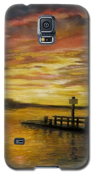 Galaxy S5 Case featuring the painting Sesuit Harbor At Sunset by Jack Skinner