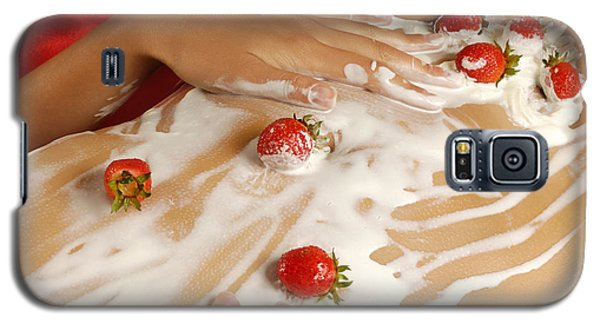 Sexy Nude Woman Body Covered With Cream And Strawberries Galaxy S5 Case by Oleksiy Maksymenko