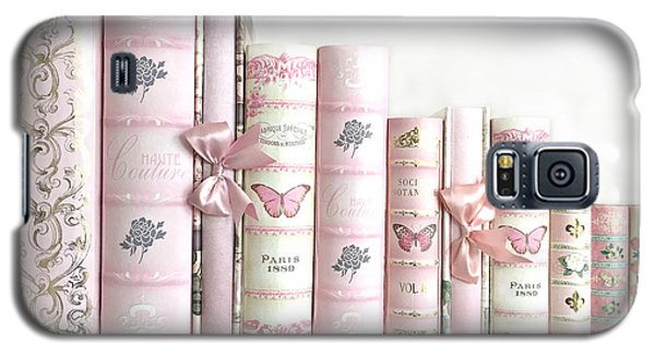 Galaxy S5 Case featuring the photograph Shabby Chic Pink Books Collection - Paris Pink Books Art Prints Home Decor by Kathy Fornal