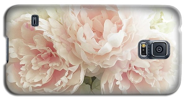 Galaxy S5 Case featuring the photograph Shabby Chic Romantic Pastel Pink Peonies Floral Art - Pastel Peonies Home Decor by Kathy Fornal