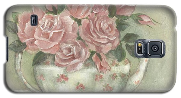 Shabby Teapot Rose Painting Galaxy S5 Case by Chris Hobel