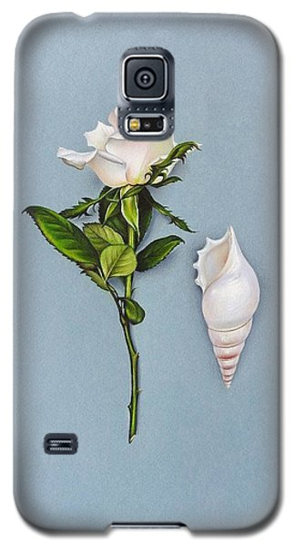 Galaxy S5 Case featuring the drawing Shades Of White by Elena Kolotusha