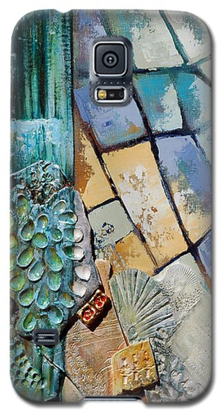 Galaxy S5 Case featuring the painting Shards Water Clay And Fire by Suzanne McKee
