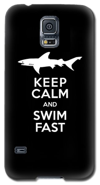 Shark Keep Calm And Swim Fast Galaxy S5 Case by Antique Images