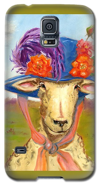 Galaxy S5 Case featuring the painting Sheep In Fancy Hat by Susan Thomas