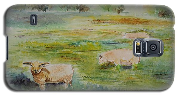 Galaxy S5 Case featuring the painting Sheep In Pasture by Geeta Biswas