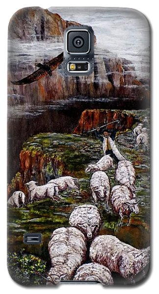 Galaxy S5 Case featuring the painting Sheep In The Mountains  by Judy Kirouac