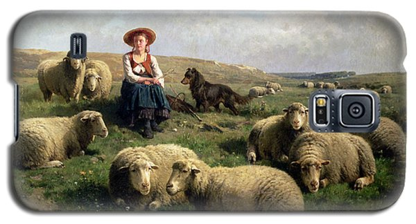 Shepherdess With Sheep In A Landscape Galaxy S5 Case by C Leemputten and T Gerard