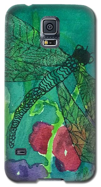 Shimmering Dragonfly W Sweetpeas Square Crop Galaxy S5 Case
