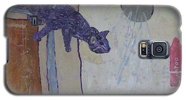 Galaxy S5 Case featuring the painting Shower Cat by AJ Brown