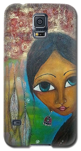 Galaxy S5 Case featuring the mixed media Shower Of Roses by Prerna Poojara