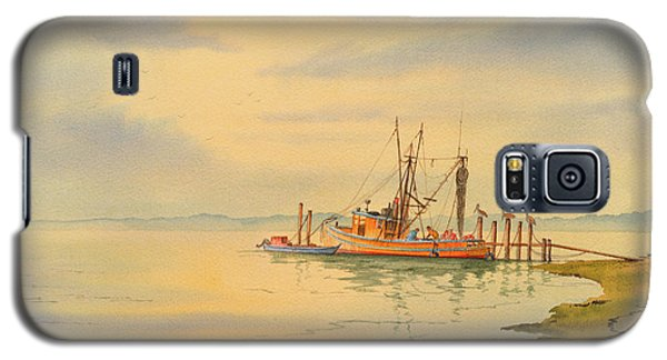 Galaxy S5 Case featuring the painting Shrimp Boat Sunset by Bill Holkham