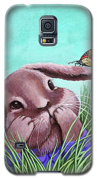 Galaxy S5 Case featuring the painting Shy Bunny - Original Painting by Linda Apple