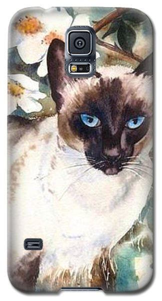 Galaxy S5 Case featuring the painting Siamese Cat by Sandra Phryce-Jones