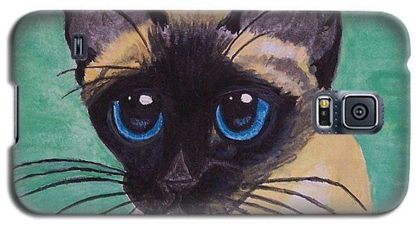 Galaxy S5 Case featuring the painting Siamese by Leslie Allen