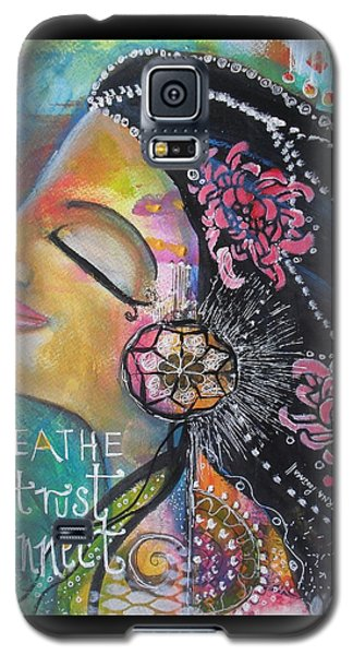Galaxy S5 Case featuring the painting Side Face With Words by Prerna Poojara