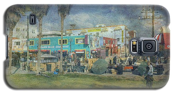 Galaxy S5 Case featuring the photograph Sidewalk Cafe Venice Ca Panorama  by David Zanzinger