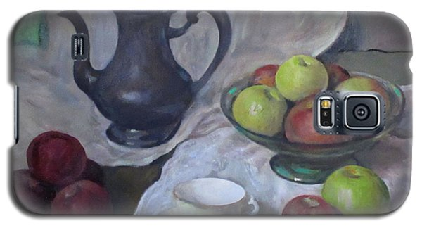 Silver Coffeepot, Apples, Green Footed Bowl, Teacup, Saucer Galaxy S5 Case