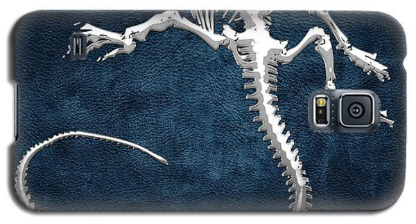 Silver Iguana Skeleton On Blue Silver Iguana Skeleton On Blue  Galaxy S5 Case by Serge Averbukh