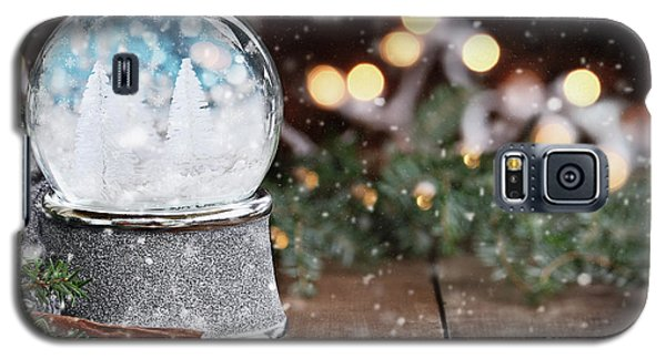 Galaxy S5 Case featuring the photograph Silver Snow Globe With White Christmas Trees by Stephanie Frey