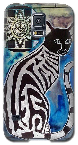 Galaxy S5 Case featuring the painting Silver Tabby With Mandala - Cat Art By Dora Hathazi Mendes by Dora Hathazi Mendes