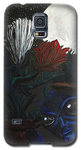 Galaxy S5 Case featuring the painting Similar Alien Appreciates Flowers By The Light Of The Full Moon. by Similar Alien