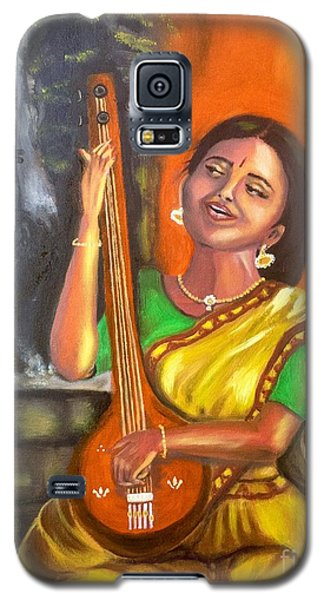 Galaxy S5 Case featuring the painting Singing @ Sunrise  by Brindha Naveen