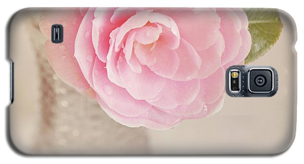 Galaxy S5 Case featuring the photograph Single Pink Camelia Flower In Clear Vase by Lyn Randle