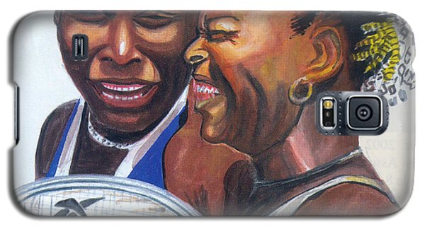 Galaxy S5 Case featuring the painting Sisters Williams by Emmanuel Baliyanga