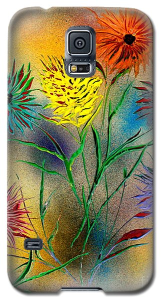 Galaxy S5 Case featuring the painting Six Flowers - E by Greg Moores