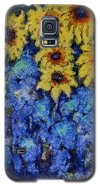 Galaxy S5 Case featuring the photograph Six Sunflowers On Blue by Claire Bull