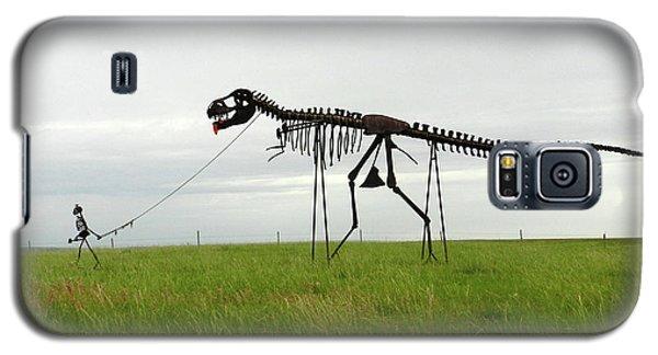 Skeletal Man Walking His Dinosaur Statue Galaxy S5 Case