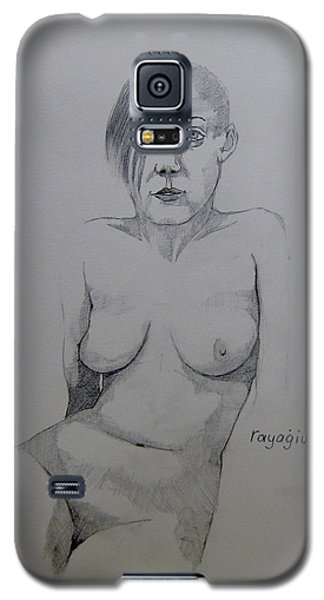 Galaxy S5 Case featuring the drawing Sketch Reclining Cassie by Ray Agius
