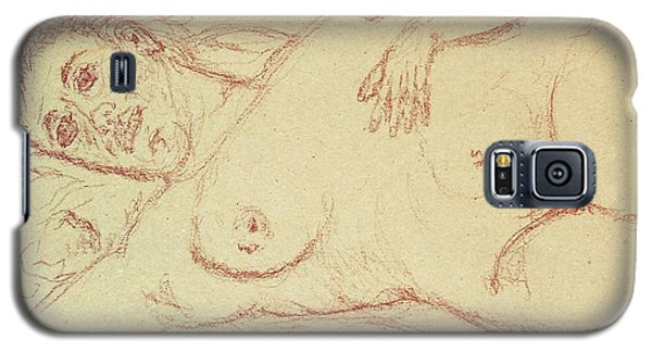 Nude Laying In Red Galaxy S5 Case by Rand Swift