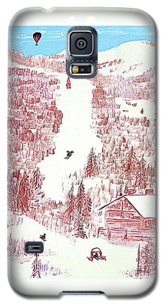 Galaxy S5 Case featuring the painting Skiing Deer Valley Utah by Richard W Linford