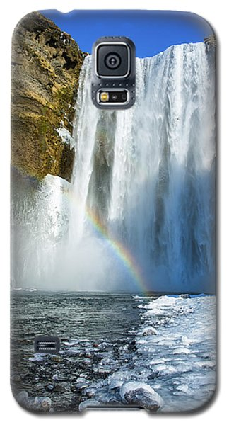 Skogafoss Waterfall Iceland In Winter Galaxy S5 Case by Matthias Hauser