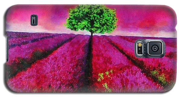 Galaxy S5 Case featuring the painting Sky And Field Aflamed by Marie-Line Vasseur