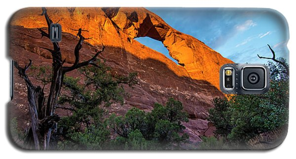 Galaxy S5 Case featuring the photograph Skyline Arch At Sunset - Arches National Park - Utah by Gary Whitton